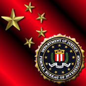 Graphic of Chinese flag and FBI seal