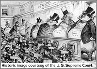 Historical political cartoon regarding corporate monopolies