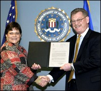 Photograph of Stephanie Dietrick with Boston Special Agent in Charge Ken Kaiser