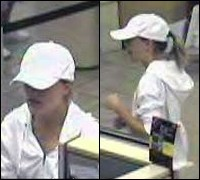 "Bank surveillance images of wanted ""Ponytail Bandit"""