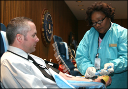 FBI employee at military blood drive