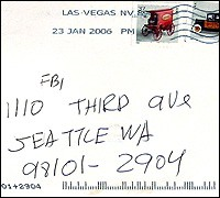 Envelope containing anonymous letter sent to the FBI in Seattle.