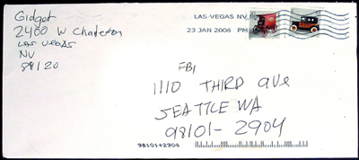 envelope from a letter that claims to have been authored by Wales' killer. Note the use of 'Gidget'--a movie and TV show from the 1960s--in the return address; the term is possibly used by the author in other contexts, past and present