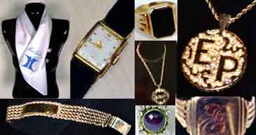 Graphic collage of Elvis Presley's jewelry.