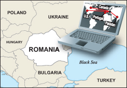 Map of Romania and Europe with a computer in the upper right corner