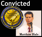 Graphic of Matthew Hale and Counterterrorism seal.