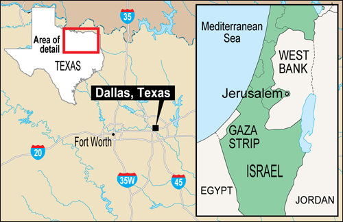 Map of Dallas, Texas with the inset map of Israel showing Gaza Strip and the West Bank.