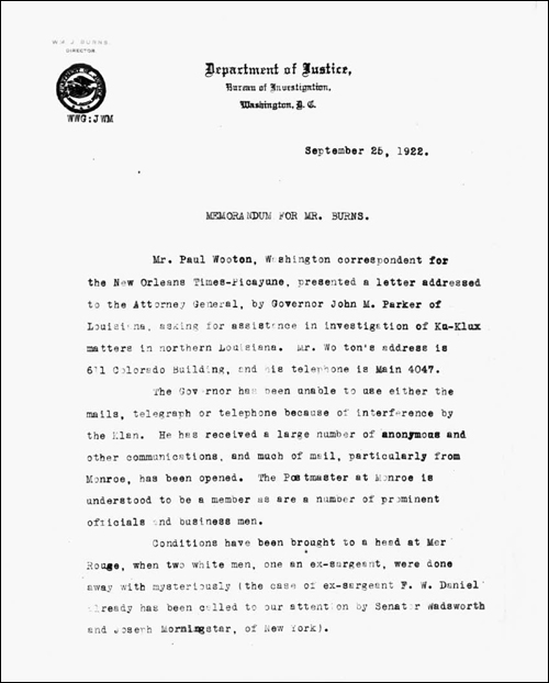 Memo from Hoover to Burns on September 25, 1922, page 1
