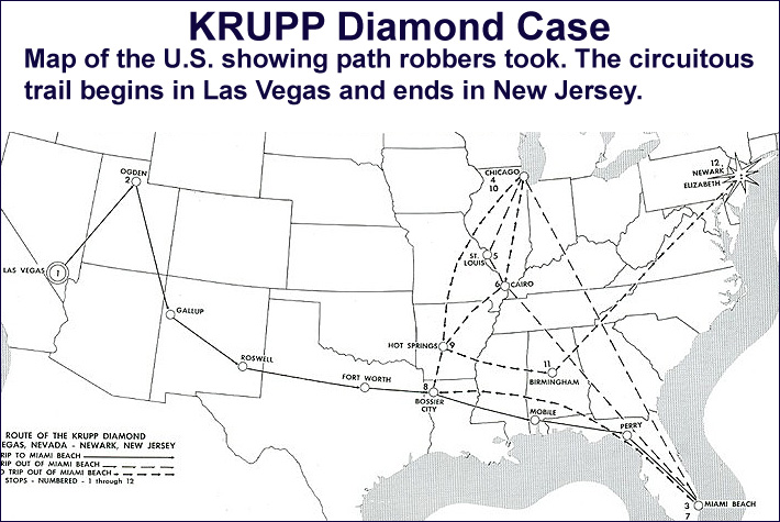 Krupp Diamon Case - Map of the U.S. showing path robbers took.  The circuitous trail begins in Las Vegas and ends in New Jersey.