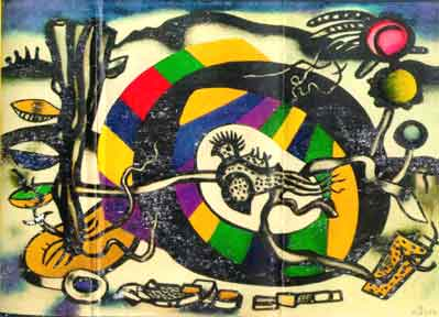 "Photograph of and link to ""La Boite à Chapeau Polychrome"" paingin by artist Fernand Léger"