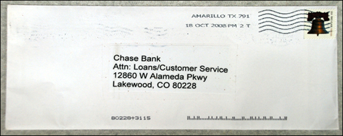 Photograph of envelope addressed to bank