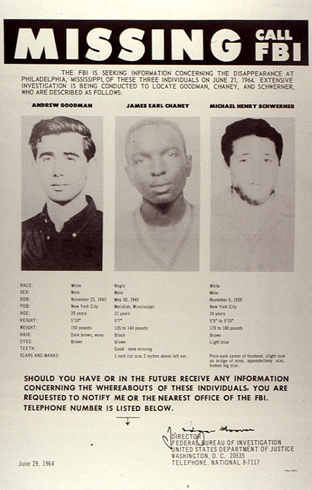 "FBI ""Missing"" poster containing information about missing civil rights workers."