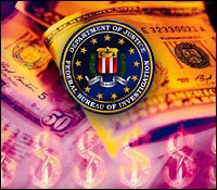 FBI Seal Displayed Over Currency