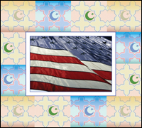 Graphic of U.S. flag and traditional Muslim imagery
