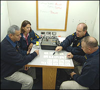 Photograph: Crisis negotiators in operations center