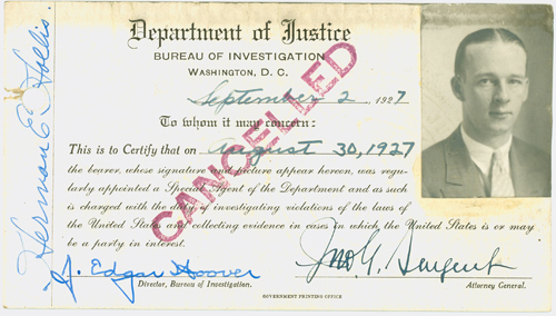 Credentials  of Special Agent Herman E. Hollis