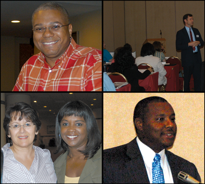 Four pictures of FBI personnel at a National Citizens Academy Alumni Association conference