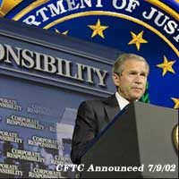 Graphic of President Bush at the Corporate Fraud Task Force