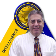 Graphic of Chris Poulos, Counterterrorism seal and Intelligence logo.