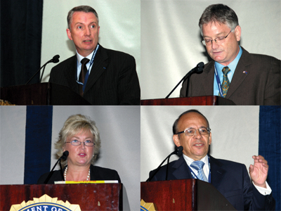 Globally speaking: Ruben Ramirez, Head of the Department of Physical Protection and Safeguards in Mexico (lower right); Allan Murray of the Australian Nuclear Science and Technology Organization (upper right); Dr. Cynthia Jones, Senior Technical Advisor for Nuclear Security at the U.S. Nuclear Regulatory Commission (lower left); Eric Plaisant, Chief Superintendent of the French National Police (upper left).