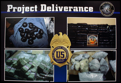 Various images of drugs and currency from Project Deliverance press conference