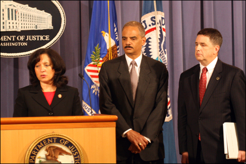 DEA Acting Administrator Michele Leonhart, Attorney General Eric Holder, and FBI Assistant Director Kevin Perkins