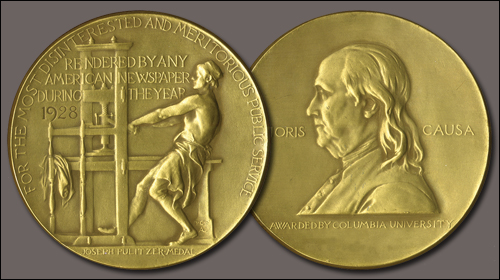 Image of a Pulitzer Prize medal awarded in 1928. Courtesy of Columbia University.