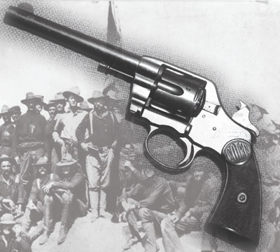 This revolver was Teddy Roosevelt's sidearm when he charged San Juan Hill in the Spanish-American War. Bankground photo courtesy of the Library of Congress