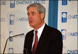 Director Mueller speaks at the Chatham House in London. Photo courtesy of Chatham House