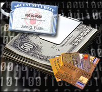 Collage of U.S. Currency, credit cards and a Social Security card
