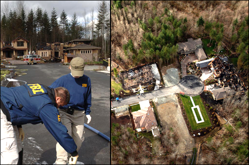 Two FBI evidence experts at the scene and an aerial picture of the destroyed homes.