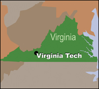 Map of Virginia showing location of Virginia Tech