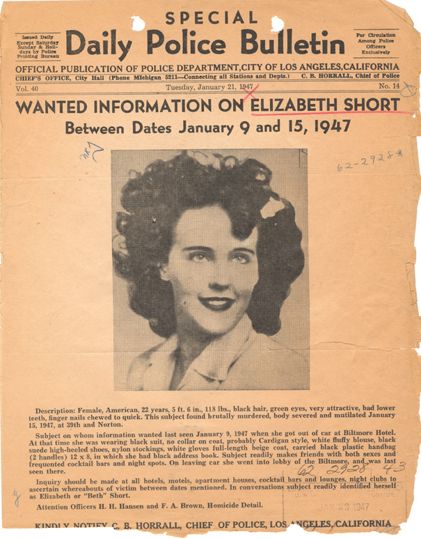 LAPD bulletin dated January 21, 1947 seeking information in the case