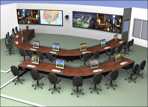 Architectural rendering of planned Director's command staff/operations room.