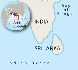 Map showing Sri Lanka off the coast of India and nearby Indian Ocean and Bay of Bengal.