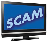 "Plasma-screen TV showing the word ""Scam"""