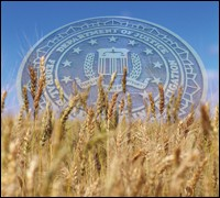 Image of FBI seal over grain field