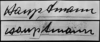 Known Signature of Hauptmann (top) Composite Signature-Individual letters from the ransom notes (bottom)