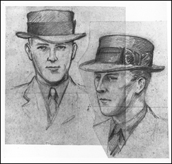 Sketches of 'John,' who received the Lindbergh kidnap ransom money