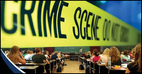 Cover of Campus Attacks report; crime scene tape in front of a classroom setting.