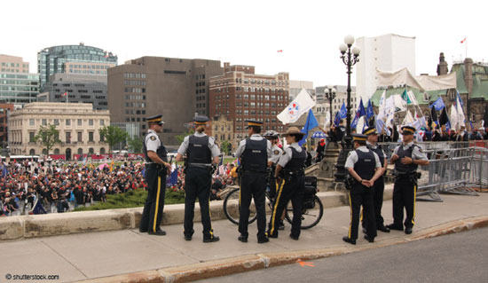 Canadian police officers at a union protest rally.