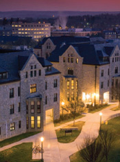 Photograph of Virginia Tech University campus at dusk.