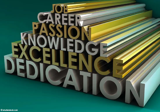Career, Passion, Knowledge, Excellence, Dedication Graphic