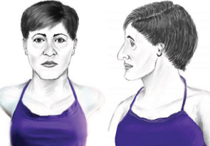 Artist's front- and side-view sketches of unidentified female victim.