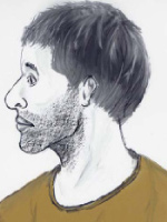 Artist's front- and side-view sketches of unidentified male victim.
