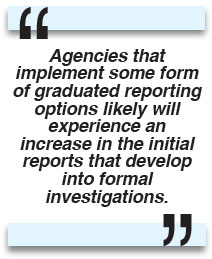 Agencies that implement some form of graduated reporting options likely will experience an increase in the initial reports that develop into formal investigations.